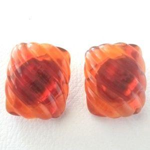 Vintage Napier Amber Lucite Rectangle Earrings